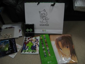 The set: Bag, Neck Warmer, All-Around Type Moon 2, Clear Poster Set, Moe-Moe Bathtowel